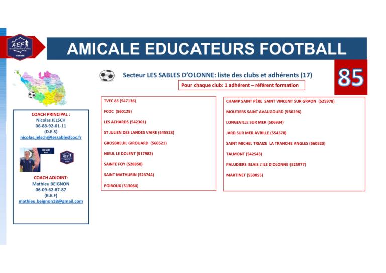 Clubs par secteur AEF 85-1