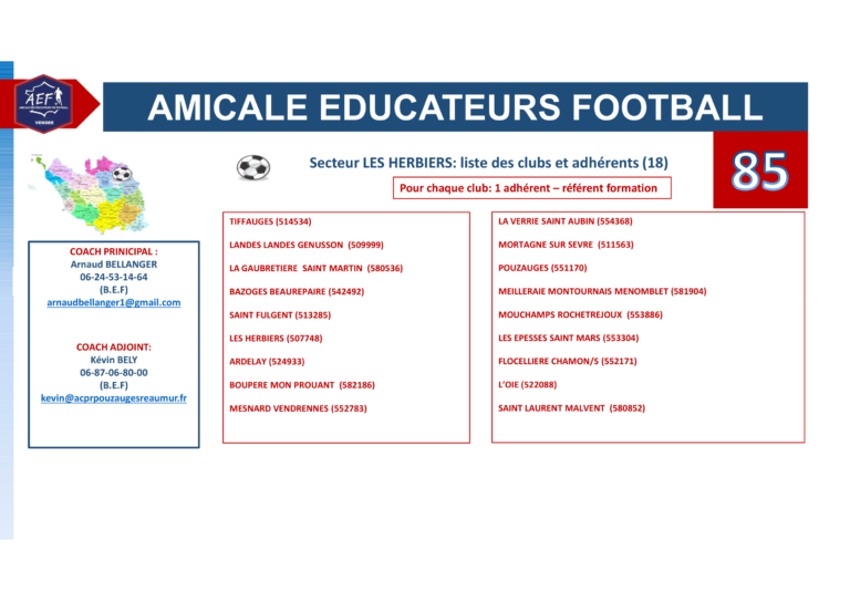 Clubs par secteur AEF 85-3