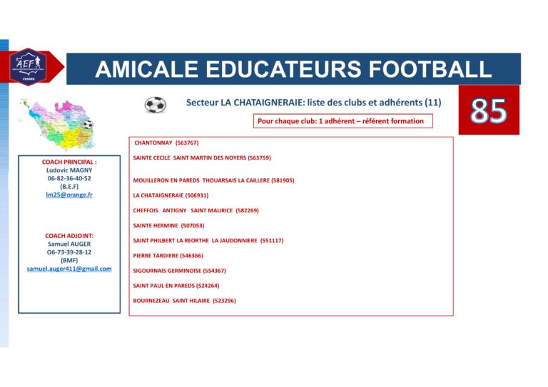 Clubs par secteur AEF 85-4