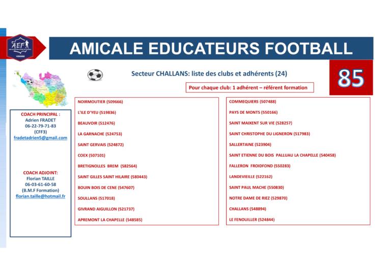 Clubs par secteur AEF 85-6
