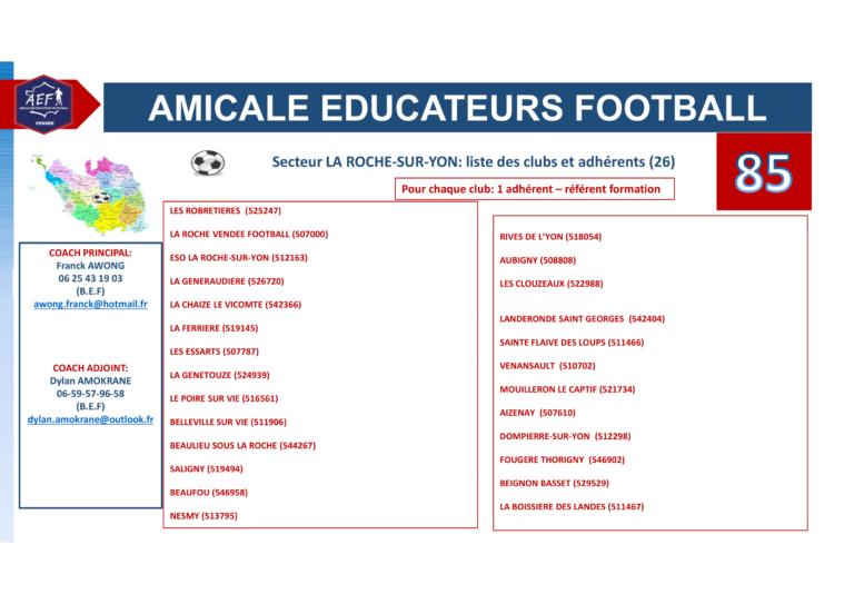 Clubs par secteur AEF 85-7